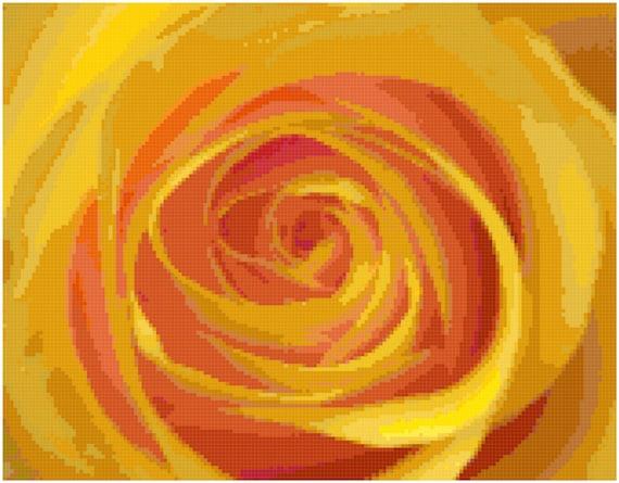 Yellow Rose Counted Cross Stitch Pattern Chart PDF Download by Stitching Addiction