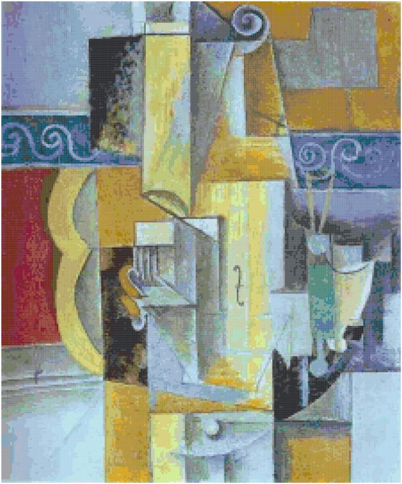 Pablo Picasso Violin and Guitar Counted Cross Stitch Pattern Chart PDF Download by Stitching Addiction