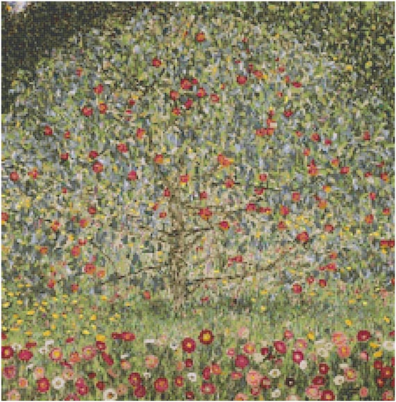 Gustav Klimt Apfelbaum Apple Tree Counted Cross Stitch Pattern Chart PDF Download by Stitching Addiction