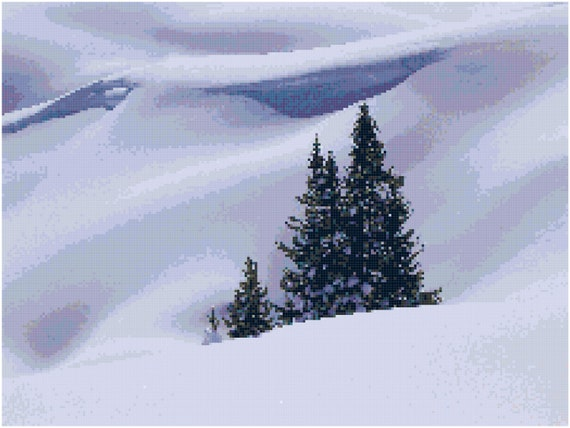 Hills of Snow Winter Landscape Counted Cross Stitch Pattern Chart PDF Download by Stitching Addiction