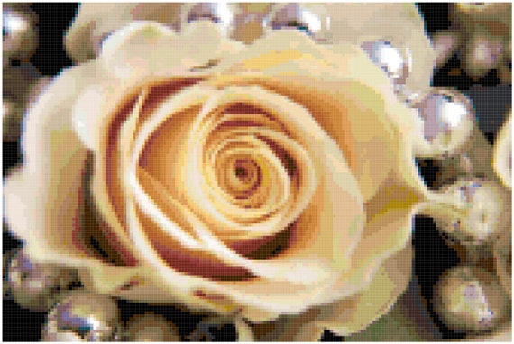 Cream Rose and Pearls Wedding Counted Cross Stitch Pattern Chart PDF Download by Stitching Addiction
