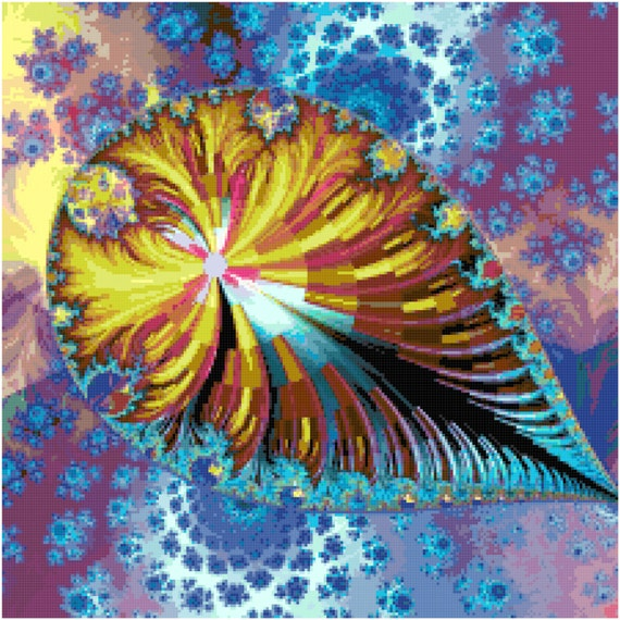 Fractal Teardrop Counted Cross Stitch Pattern Chart PDF Download by Stitching Addiction