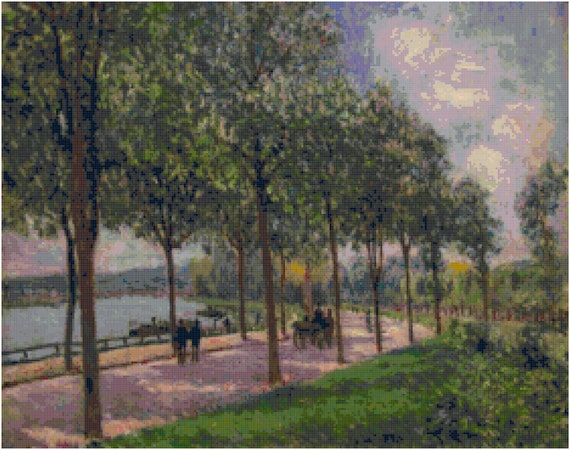 Alfred Sisley Allee of Chestnut Trees Counted Cross Stitch Pattern Chart PDF Download by Stitching Addiction