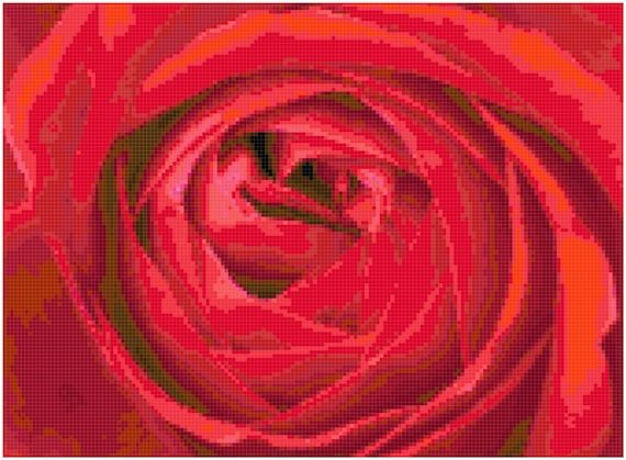 Red Rose Counted Cross Stitch Pattern Chart PDF Download by Stitching Addiction