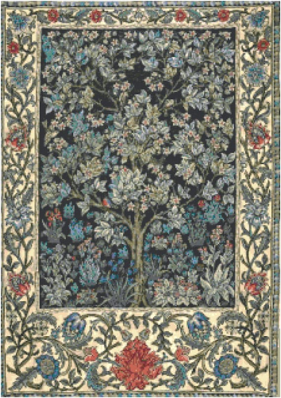 William Morris Tree of Life Counted Cross Stitch Pattern Chart PDF Download by Stitching Addiction