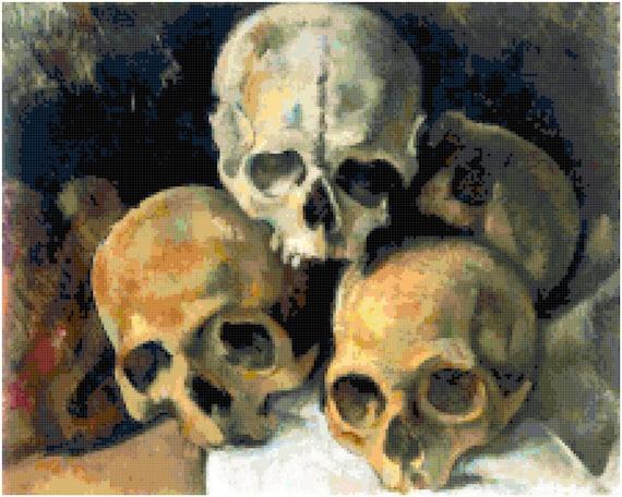 Paul Cezanne Pyramid of Skulls Counted Cross Stitch Pattern Chart PDF Download by Stitching Addiction