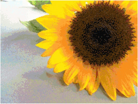 Sunflower Counted Cross Stitch Pattern Chart PDF Download by Stitching Addiction