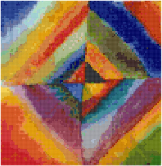 Wassily Kandinsky Color Studies Counted Cross Stitch Pattern Chart PDF Download by Stitching Addiction