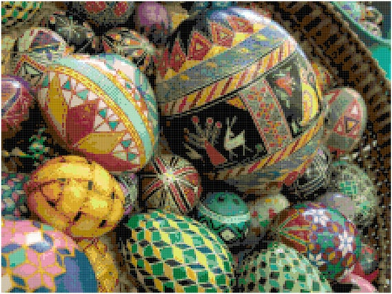 Painted Eggs Easter Art Counted Cross Stitch Pattern Chart PDF Download by Stitching Addiction
