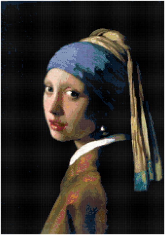 Johannes Vermeer Girl with a Pearl Earring Counted Cross Stitch Pattern Chart PDF Download by Stitching Addiction
