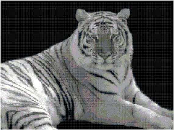 White Tiger Counted Cross Stitch Pattern Chart PDF Download by Stitching Addiction