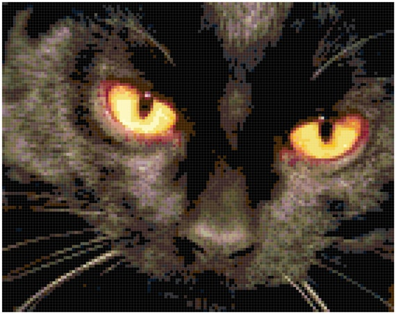 Black Cat with Orange Eyes Counted Cross Stitch Pattern Chart PDF Download by Stitching Addiction