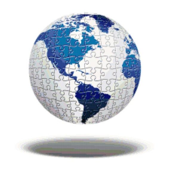 Puzzle Globe Counted Cross Stitch Pattern Chart PDF Download by Stitching Addiction