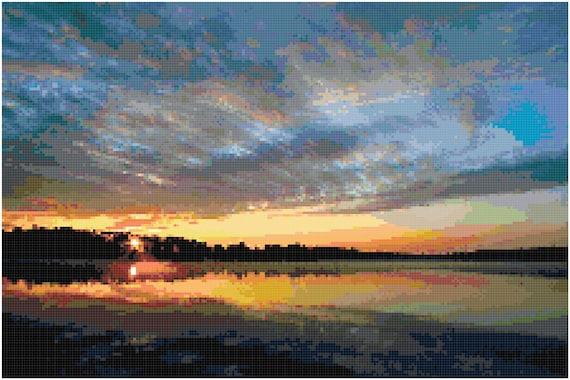Sunrise over a Lake Sunset Landscape Counted Cross Stitch Pattern Chart PDF Download by Stitching Addiction
