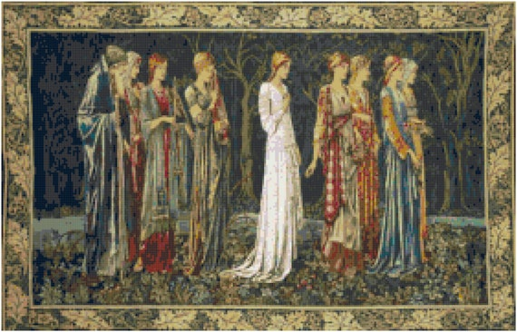 William Morris The Ceremony Counted Cross Stitch Pattern Chart PDF Download by Stitching Addiction