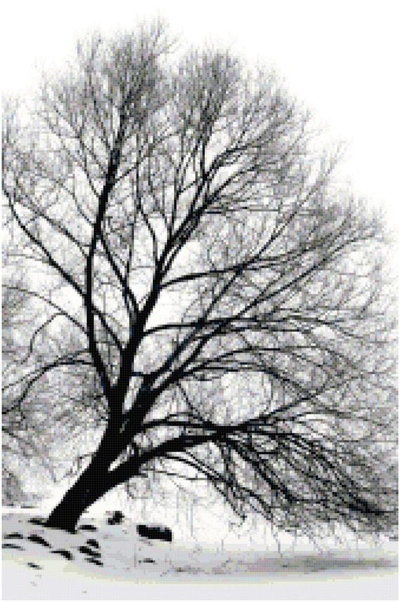 Winter Tree Landscape Counted Cross Stitch Pattern Chart PDF Download by Stitching Addiction