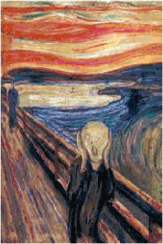 Edvard Munch The Scream Counted Cross Stitch Pattern Chart PDF Download by Stitching Addiction