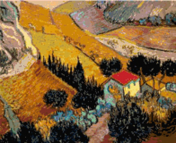 Vincent Van Gogh Landscape with a House Counted Cross Stitch Pattern Chart PDF Download by Stitching Addiction