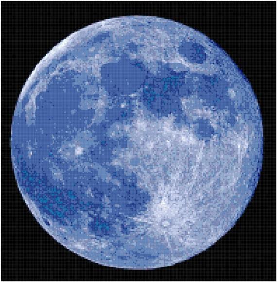 Blue Moon Counted Cross Stitch Pattern Chart PDF Download by Stitching Addiction