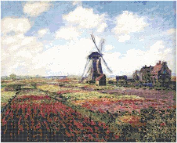 Claude Monet Windmill and Tulip Fields Counted Cross Stitch Pattern Chart PDF Download by Stitching Addiction