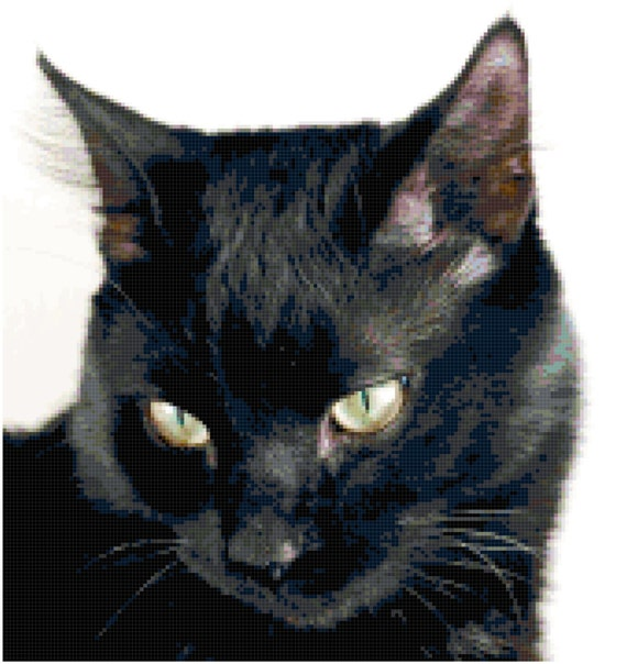 Black Cat Looking Down Counted Cross Stitch Pattern Chart PDF Download by Stitching Addiction