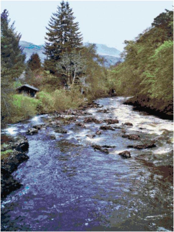 Babbling Brook Stream Landscape Counted Cross Stitch Pattern Chart PDF Download by Stitching Addiction
