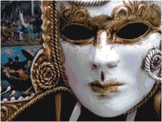 Venetian Mask Counted Cross Stitch Pattern Chart PDF Download by Stitching Addiction