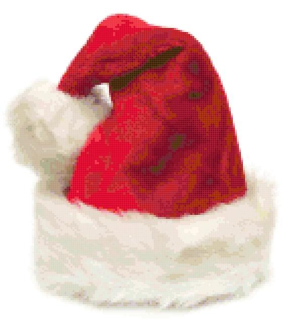 Christmas Santa Hat Counted Cross Stitch Pattern Chart PDF Download by Stitching Addiction