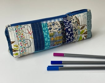 Pencil case or makeup pouch, blue patchwork with with peacock zipper pull