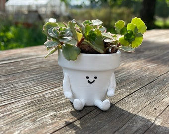 """Tiny planter pot, 2"""" mini person planter with drainage for indoor plants and succulents"""