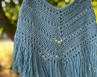 blue boho cashmere poncho for baby toddler, 12-18 months old. cottagecore, soft and sweet with long tassles.