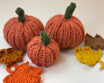 Soft pumpkin and leaves, handmade and washable. Autumn and thanksgiving decorations.