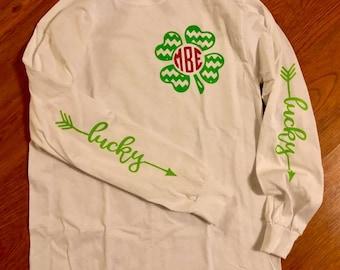 e1ec3c024 Monogram St. Patricks shirt // St. Patricks Day Shirt // Monogram shirt //  Glitter monogram shirt