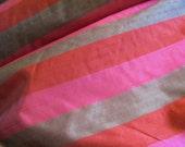 Silk Fabric Red Pink Stripe Silk Dupioni Taffeta Fabric Yardage - 54 quot Wide - By The Yard