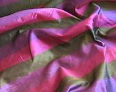 Silk Fabric Purple Gold Pink Stripe Silk Dupioni Taffeta Fabric Yardage - 54 quot Wide - By The Yard