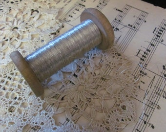 Metal Thread Antique French Early Century Silver 1 Thin Ply Metal Thread - 5 Yard Length (#11)