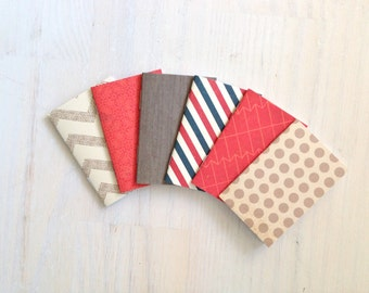 Notebooks: 6 Tiny Journals, Small Notebooks, Red, Tan, Blue, Geometric, For Her, For Him, Gift, Unique, Mini Journals, Party Favors, T129