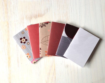 Small Notebooks: Stocking Stuffer, 6 Tiny Journals Set, Autumn, Grey, Red, Party Favors, Wedding, Journals, Small Notebooks, For Her, Small