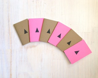 Tiny Journals: Triangles, Pink, Brown, Kids, Small Notebooks, Unique, Gift, For Her, For Him, Wedding, Party, Favors, Notebook, Journal, Set