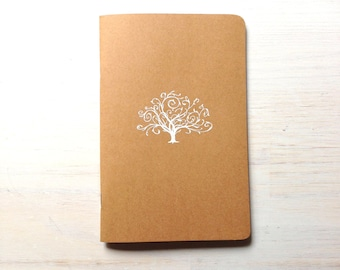 Notebook: Tree, Stocking Stuffer, Wedding Gift, White, Embossed, Unique, Tree of Life, Journal, Pocket Notebook, Jotter, Brown, Gift