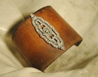 Leather and Bling Cuff