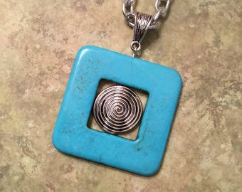 Turquoise Pendant Necklace Square Turquoise Donut Necklace Long Chain Necklace