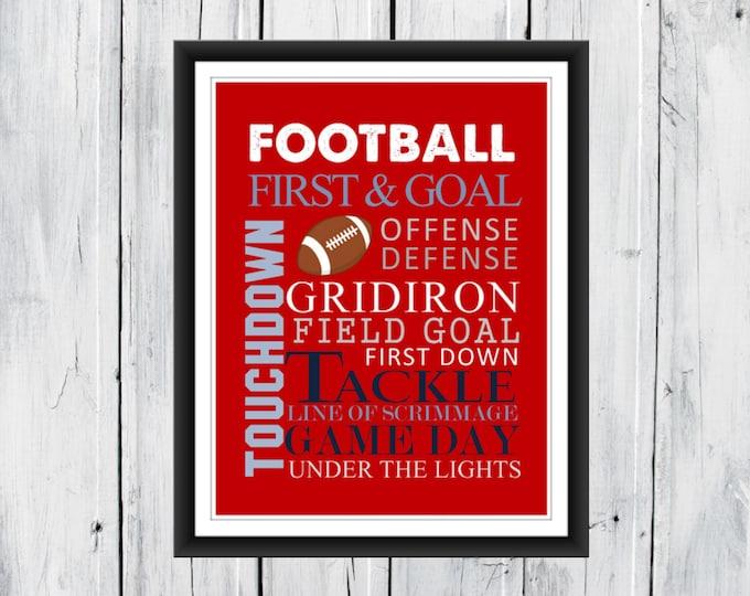 Football Word Art Print Custom Colors
