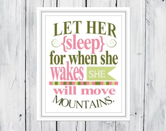 Baby Girl Nursery Decor  11x14  print Let her Sleep...