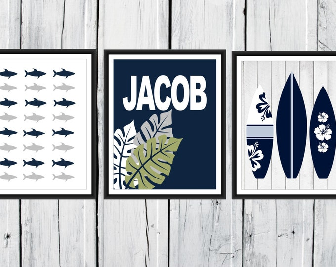 Shark Nursery Decor - 3 Print Set -  Nautical Children's Teen's Room Decor - Surfboard Print - Custom Colors