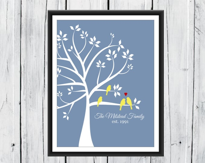 Wedding Tree Love Birds Print - Custom Sizes and Colors