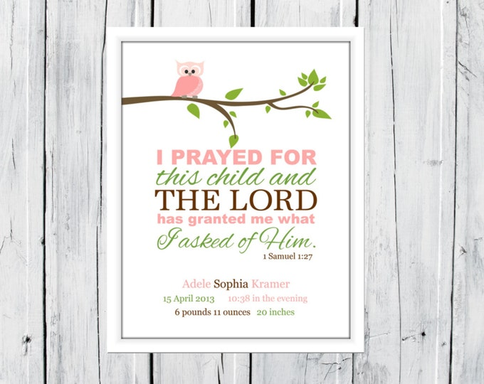 Birth Announcement  Print - 1Samuel 1:27 - Birth Stats Wall Print - Owl Nursery Print