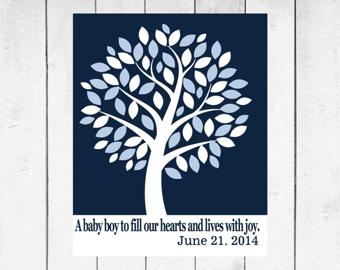 Baby Shower Guest Tree Canvas-  Baby Shower Decor - Nursery Canvas - Choose Size and Colors