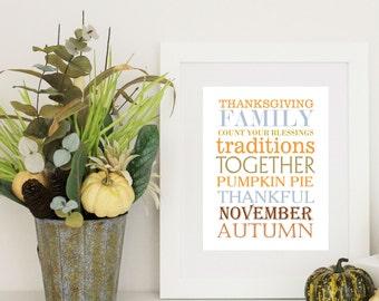 Thanksgiving Decor - Thanksgining  Word Art -  8x10 PDF Instant  Download
