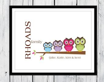 Owl Family Print - Family Print - Owls